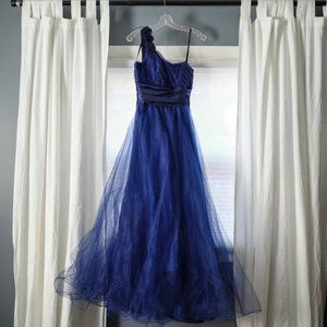 Stunning Blue Satin and Tulle Ballgown